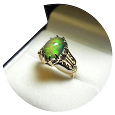 14k Ring - BLACK OPAL - Rainbow Color, 1.40 CT - Vintage 14k Yellow Gold Mtg.