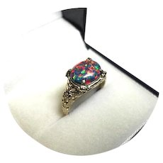 14k Ring - African Black OPAL AAA Quality - 2.20CT - Vintage Yel. Gold Filigree Mtg.
