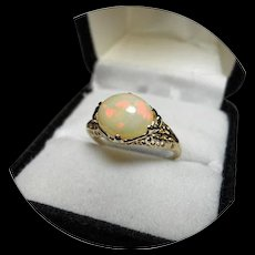 14K Fiery OPAL Ring - 3.08CT - Art Deco - Vintage Filigree Yellow Gold
