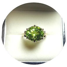 14k Ring - PERIDOT - 4.26CT - Natural Vintage Yellow Gold Mtg.