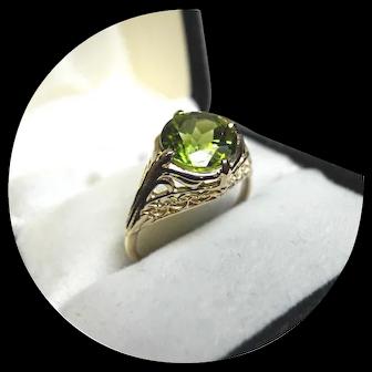 14k Ring - PERIDOT 1.75CT - Natural Earth Gem - Vintage Art Deco White Gold Mtg