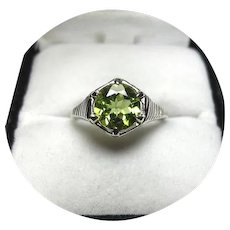 14k Ring - PERIDOT 1.50CT - Natural Earth Gem - Vintage Art Deco White Gold Mtg.