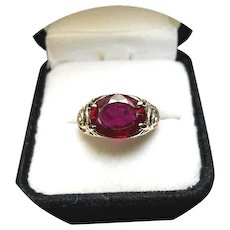 14k RUBY Ring - Natural Gem - 5.05 Carat - Vintage Sculpted MTG - Yellow Gold