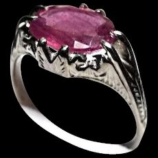 14k Ring - African RUBY - 2.35 Carat - Oval Vintage Engraved Mounting - White Gold
