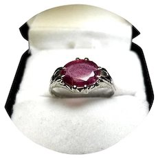 14k Ring - African RUBY - Oval 2.35 Carat - Vintage Engraved Mounting - White Gold Mtg.