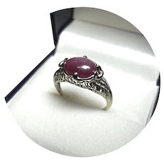 14k Ring - STAR RUBY 3.60CT - Natural Earth Gem - Art Deco/Vintage Filigree W. Gold Mtg.