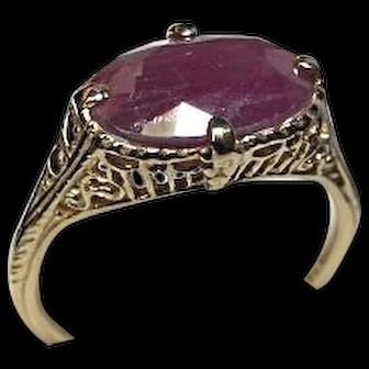 14k Ring - Red RUBY - 3.25CT - Natural Gem - Art Deco Filigree Yellow Gold Mtg.