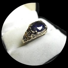 14k Ring - Blue Sapphire - 3.45 Carat - Natural Earth Gem - Vintage - Yellow Gold