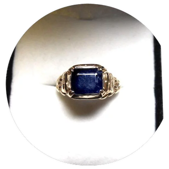 14k Ring - Blue Sapphire - 2.50 CT - Natural Earth Gem - Vintage Yellow Gold