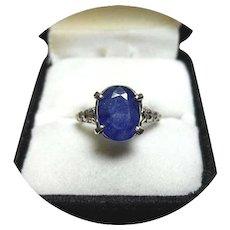 14k Ring - Dark Blue Sapphire - 3.80CT - Natural Gem - Vintage - White Gold Mtg.