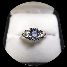 18k White Gold Ring - Ceylon Powder Blue Sapphire & 2 Diamond - Vintage Sculpted Mounting