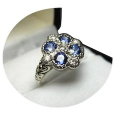 14k Ring - Blue Ceylon Sapphires - Diamond - Art Deco 14k White Gold Mtg.