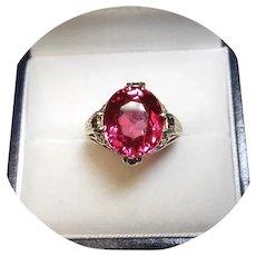 14k Ring - Raspberry Padparadscha Sapphire - 8.49CT - Filigree Yellow Gold Mtg.