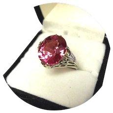 14k Ring - Raspberry Padparadscha Sapphire – 6.30CT - Filigree White Gold Mtg.