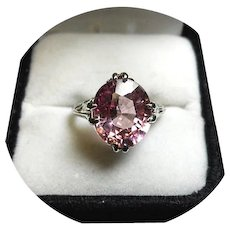 14k Ring - Flamingo Pink Padparadscha Sapphire - 6.78 CT - Natural Gem - White Gold Mtg.
