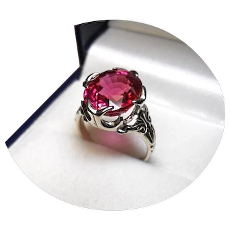 14k Ring - Padparadscha Red Raspberry Sapphire, 8.47CT - Vintage W. Gold Mtg