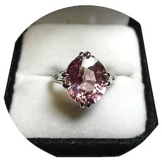 14k Ring - Pink SAPPHIRE - 6.37CT - Natural Gem - Vintage - Yellow Gold Mtg