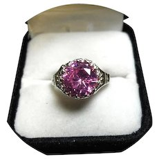 14k Ring - Bright Pink Sapphire 5.35CT Natural - Vintage White Gold Crown Setting