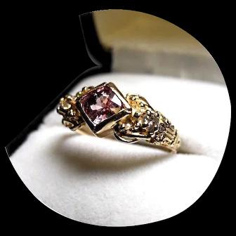 14k Ring - Natural Pink SAPPHIRE & Diamond - Vintage Yellow Gold Mtg.