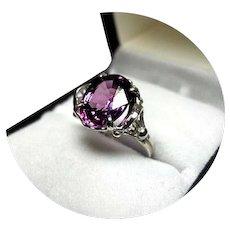 14k Ring - Pinky-Lavender SAPPHIRE - 4.12 CT - - Vintage White Gold MTG.
