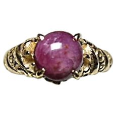 14k Ring - STAR RUBY - 2.70 CT - Vintage Carved Yellow Gold Mounting