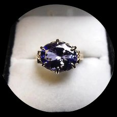 14k Ring - TANZANITE, 3.63CT - Quality Bright Blue - Natural Earth Gem - White Filigree