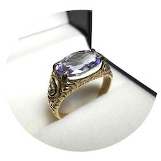 14k Ring - TANZANITE - 2.87CT - Natural Earth Gem - Vintage Carved - Yellow Gold Mtg.