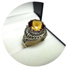 14k Ring - TOPAZ - Madeira - 6.27 CT - Vintage White Gold Sculpted Mounting
