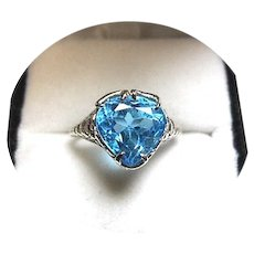 14k Ring - Swiss 'ELECTRIC' Blue TOPAZ - 4.02 CT - Vintage White Gold Mtg.