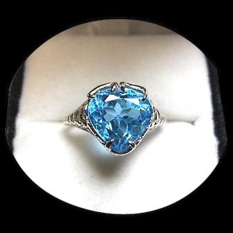 14k Ring - Swiss 'ELECTRIC' Blue TOPAZ - 4.02 CT - Vintage White Gold Mtg.