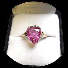 14k Ring - HOT Pink Tourmaline - 2.90CT - Natural Gem - Vintage 14k Yellow Gold Mtg.