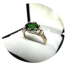 14k Ring -  Chrome-Green TOURMALINE - 2.54CT - 6.25x8.25mm - Vintage 14k Y. Gold