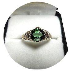 14k Ring - Tourmaline Chrome Green, 1.46 CT - Vintage Yellow Gold Filigree Mtg.