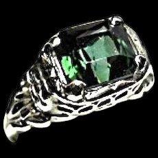 14k Ring - Tourmaline Kelley Green Gem - 2.31 CT - Vintage - Rose Carved White Gold Mtg.