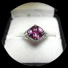 14k Ring - Tourmaline - Raspberry Hot Pink - Natural - Art Deco - Filigree White Gold Mtg.