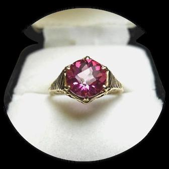 14k Ring - HOT Pink Tourmaline - 2.10 CT - Vintage Yellow Gold Filigree Mtg