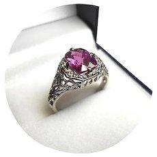 14k Heirloom - Ring - HOT Pink Tourmaline - 2.35CT - Checker Board Cut - 14k White Gold Filigree Mtg.