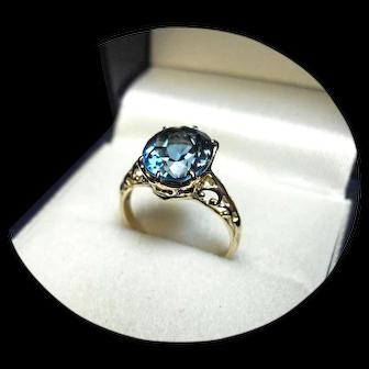 14k Ring - Tourmaline BLUE 'INDICOLITE' – 3.67CT - Vintage Yellow Gold Mtg.