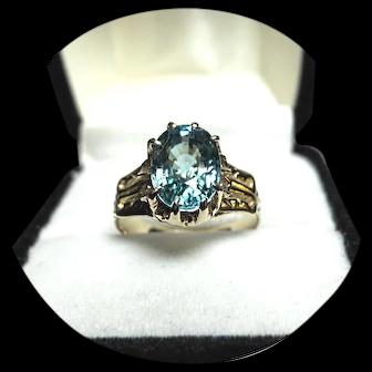 18k Ring - Indicolite, Bright BLUE Tourmaline - Vintage Yellow Gold