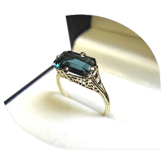 14k Ring - Tourmaline INDICOLITE Ring - Blue-Green 2.8CT – Art Deco Vintage Filigree Y.Gold