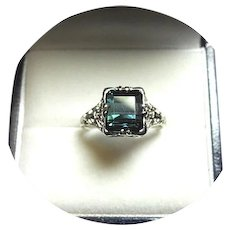 14k Ring - Blue-Green INDICOLITE Tourmaline - 2.37 CT - Vintage White Gold Mtg.