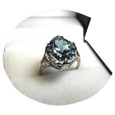 14k Ring - Tourmaline BLUE 'INDICOLITE',  4CT - Vintage White Gold Mtg.