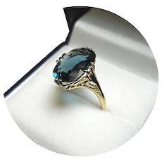 18k Ring - Natural Blue-Green INDICOLITE Tourmaline, 4.00CT, Vintage Filigree Yellow Gold