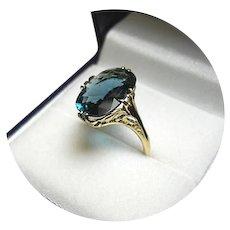 18k Ring - INDICOLITE Tourmaline - Natural Blue-Green - 4.00CT - Vintage Filigree Yellow Gold