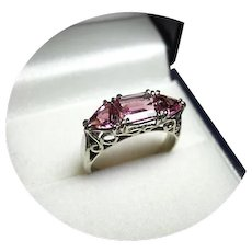 14k Ring - PINK TOURMALINE with Two Trillion Cuts - Vintage White Gold Mtg.