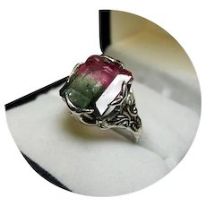 14k Ring - Bi-color Watermelon Tourmaline - 5.26CT - Sculpted White Gold Mtg.