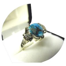 14k Gold Ring - TURQUOISE Trillion Cut - Faceted - Vintage Scroll - White Gold Mounting