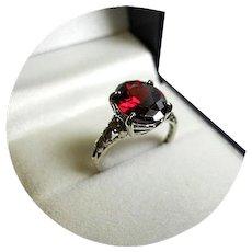 14k Ring - Rose Red ZIRCON - 5.90CT - Vintage 14k White Gold Heart Mtg.