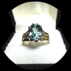 14k Ring -  Blue ZIRCON - Natural Earth Gem - 3.62 Carat - Vintage Carved Yellow Gold Mtg.