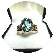 14k Ring - Natural Blue ZIRCON - 3.62 Carat - Vintage 14k Carved Yellow Gold Mtg.